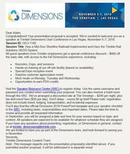 2018 07 23 14 45 39 Trimble Dimensions 2018   Your Proposal is Accepted!   Message (HTML)